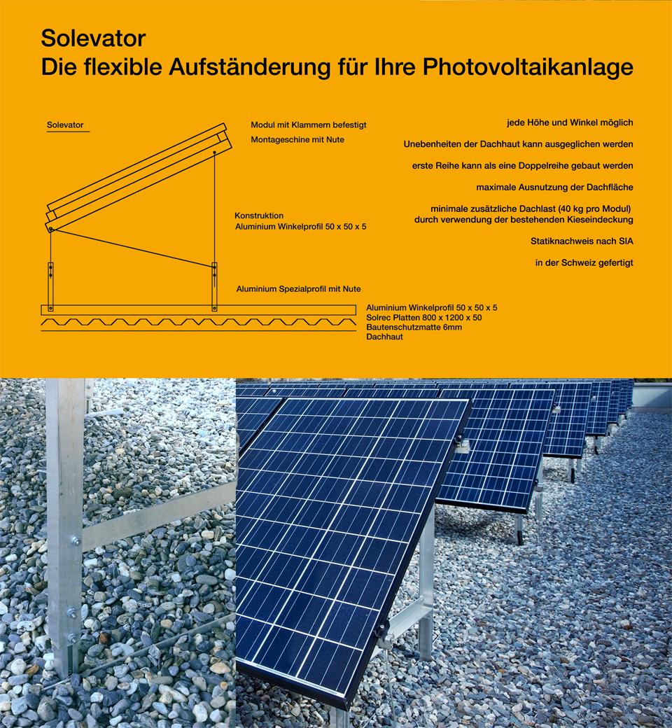 Solevator flexiebles Aufständerungssystem für Photovoltaikanlagen